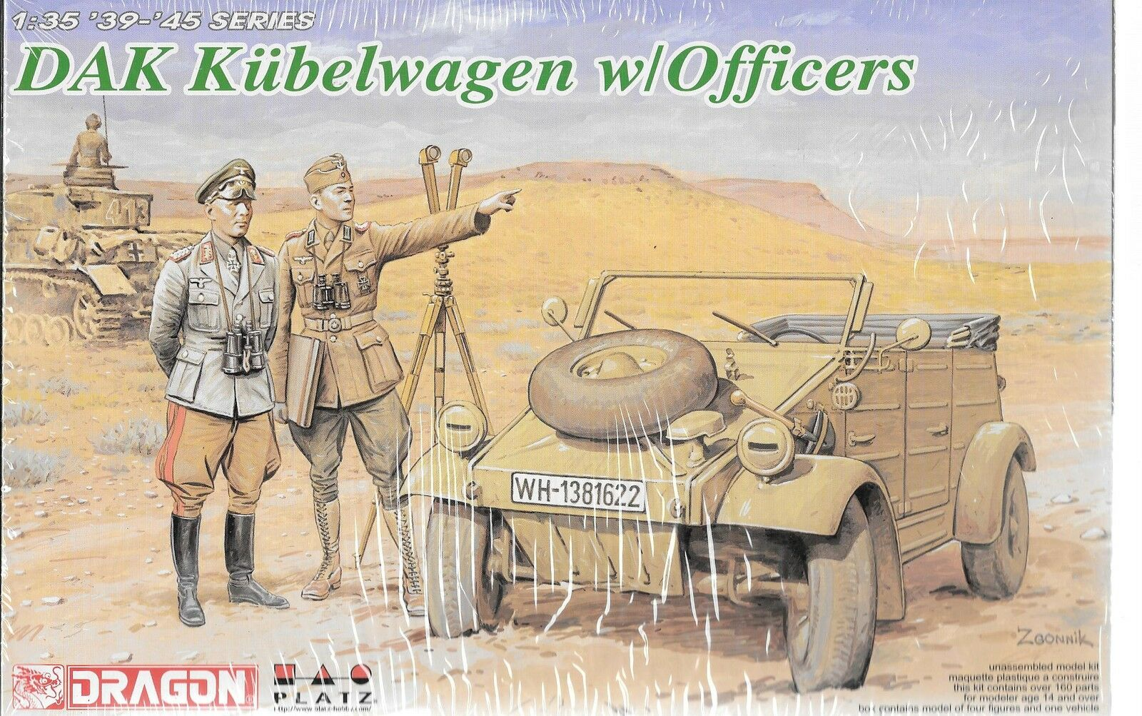 Dragon PLATZ DAK Kubelwagen w Officers in 1 35 6364 ST