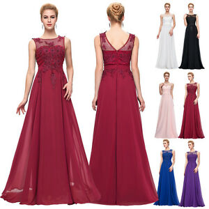 Long Chiffon Bridesmaid Dress Party Cocktail Evening Prom Dress Appliques Gowns