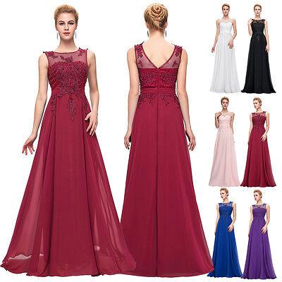 PLUS 2~24W Long Chiffon Prom Dress Bridesmaid Wedding Evening BEADED GRAD DRESS