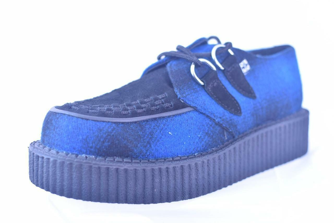 TUK BLUE BLACK PLAID CLOTH SUEDE 5 LEATHER CREEPERS A8055 UNISEX 5 SUEDE M / 7 W  NOS 5f0036