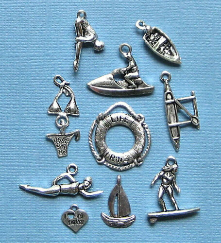 COL103 Water Sports Charm Collection Antique Silver Tone 10 Different Charms