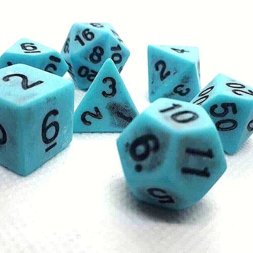 Dice 4 Friends RPG 7 cubo set polyedrisch dnd juego de roles azul Ancient Antique