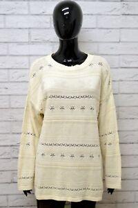Cardigan-Donna-BENETTON-Taglia-XL-Felpa-Maglione-Pullover-Sweater-Vintage-Bianco