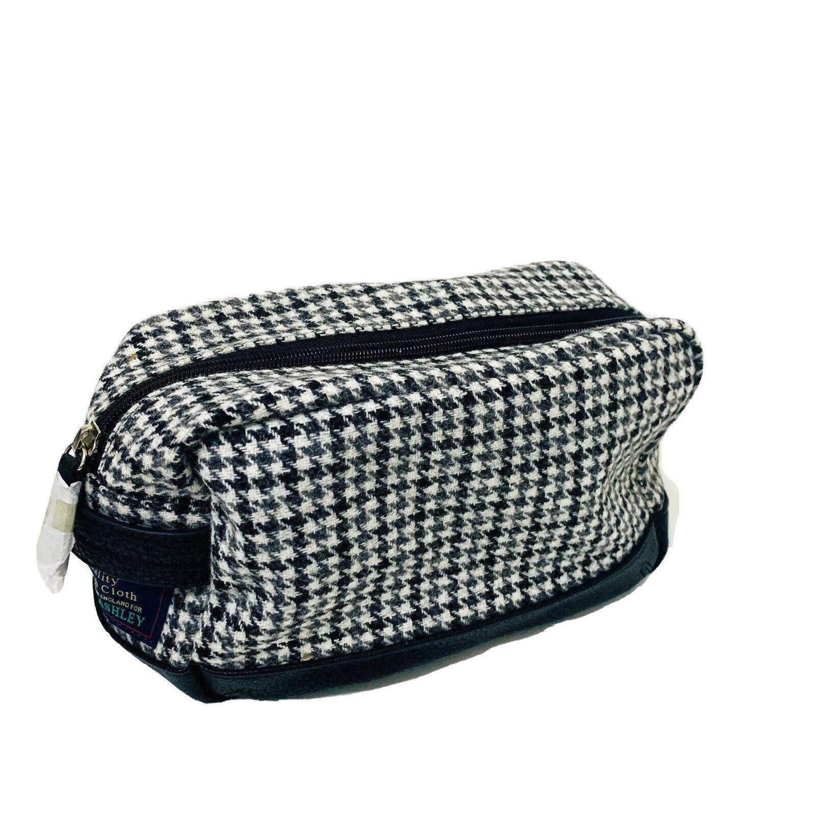 LAURA ASHLEY Black & White Houndstooth Moon Wool Tweed Toiletries Bag Gift NEW