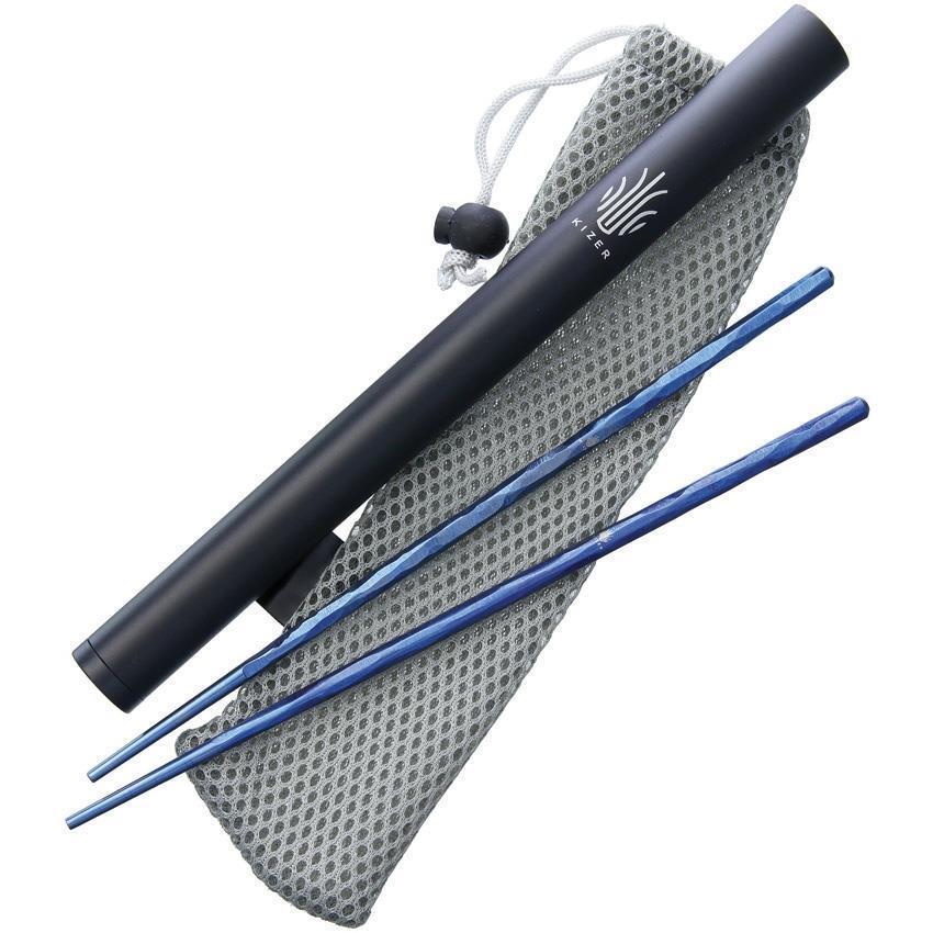 Kizer Cutlery Texturé Titane Bleu sacuettes 8.5  avec capsule & pochette T309A2