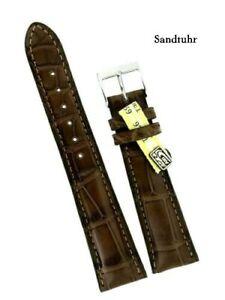 Louisiana-Kroko-Uhrenband-20-16mm-braun-grosse-Narbung-Made-in-Germany-Handmade