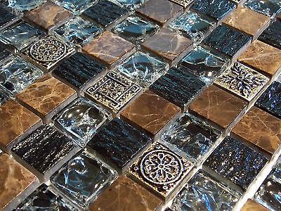 Crush Marmormosaik Glasmosaik Effekt Mosaik Fliese braun Schwarz Beige FTSMAX02
