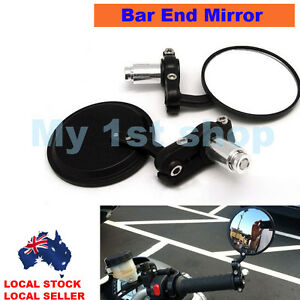 Universal-Black-Motorcycle-bike-7-8-034-Bar-End-Rear-Side-View-Mirrors-Cafe-Racer