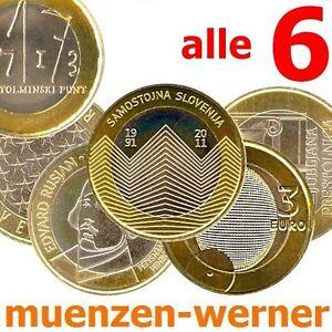 Sondermuenzen-Slowenien-6-3-Euro-Muenze-2008-2013-Gedenkmuenzen-alle-6-Sondermuenze