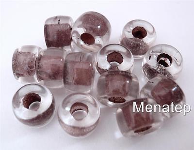 Crystal Brown Lined 25 5 x 9mm Czech Glass Roller Beads