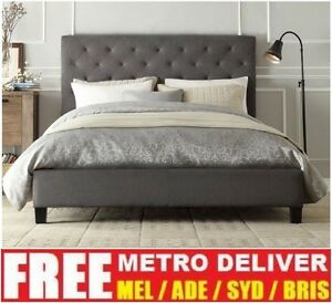 new products 44f94 4d3f2 Details about CHESTER DOUBLE QUEEN KING SIZE GREY / WHITE / CHARCOAL FABRIC  BED FRAME