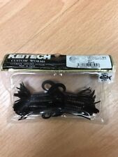 "Keitech Custom Worms Little Spider 2"" Black 8 Tails Strong Squid Scent"