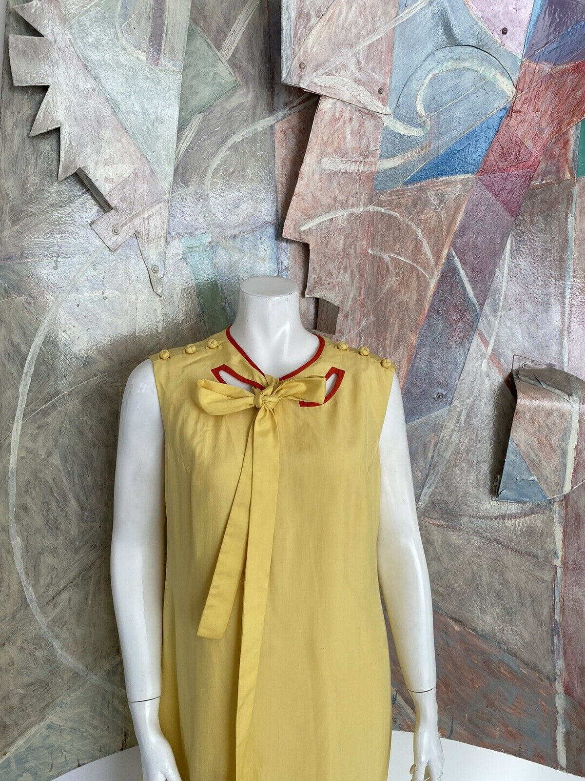 Vintage Alice John Rogers Yellow Silk Pussybow Sh… - image 4