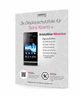 3x Displayschutzfolie Für Sony Xperia U St25i Displayfolie Clear Schutzfolie