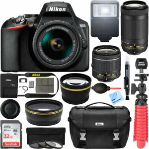 Nikon-D3500-DSLR-Camera-18-55mm-VR-70-300mm-2-Lens-Kit-32GB-Accessory-Bundle