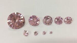 Cubic-Zirconia-Loose-Stone-Round-shape-crystal-gem-PINK-x1-x10-2mm-14mm
