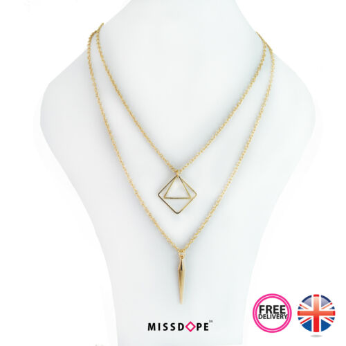 NEW DOUBLE GOLD SQUARE MULTI LAYER NECKLACE CHAIN PENDANT LARIAT WOMENS GYPSY UK