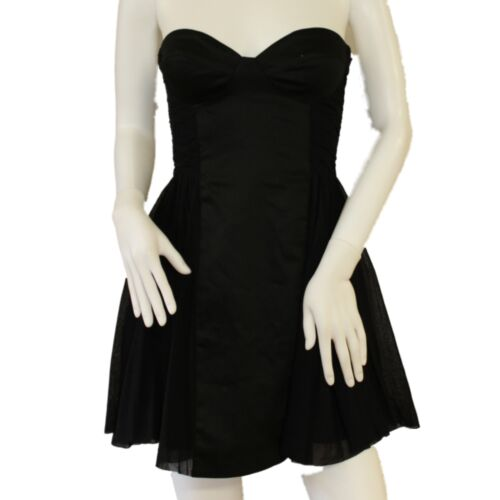 Mini Corset Dress Black Sweetheart Neck A Line Mesh Lace Flared Size UK 10