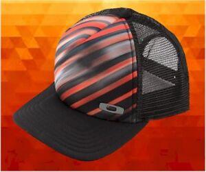 726ee396d6f Image is loading New-Oakley-Orange-Black-Stripe-Graphic-Foam-Trucker-