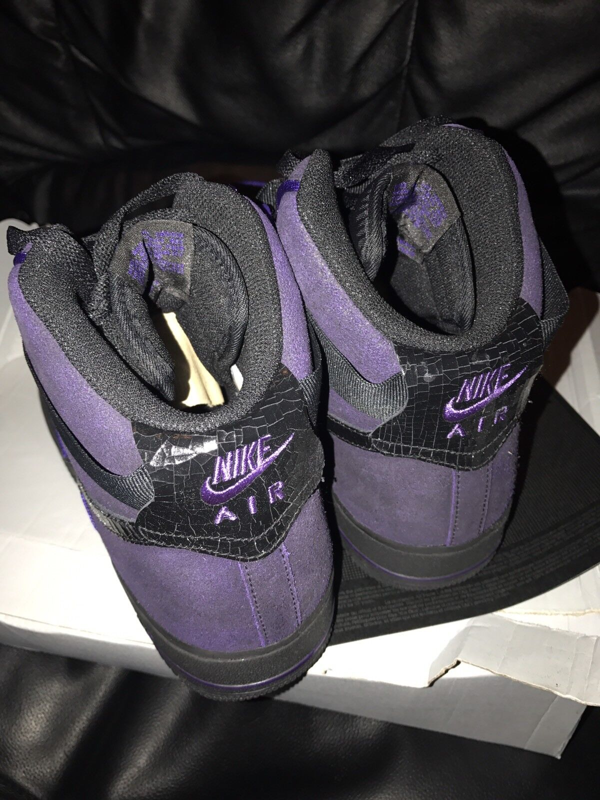 Genuine Genuine Genuine Nike Air Force 1 High 07 Negro Court Morado Trainers 443ffe