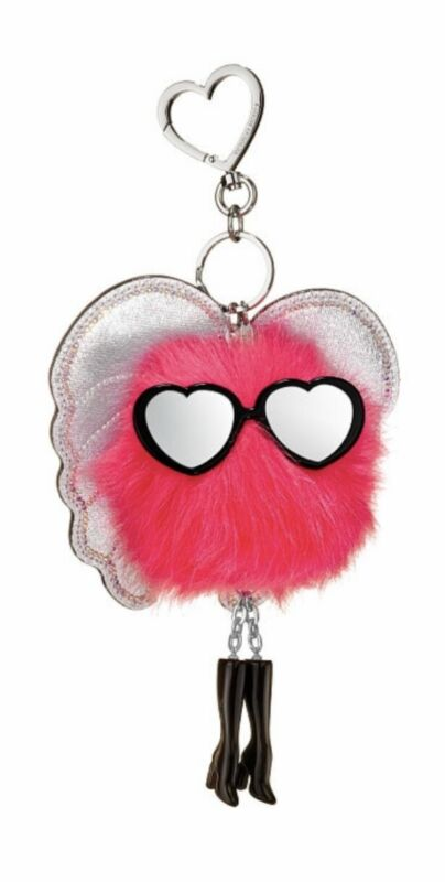 Beautiful Victoria's Secret Vs Fashion Pink Angel Silver Wing Puff Pom Keychain Clip Charm Meticulous Dyeing Processes