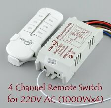 E73 4 Way Channel RF Wireless Remote Control Switch Transmitter Receiver 220V AC