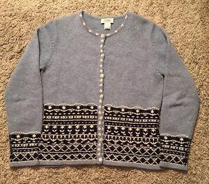 Women-039-s-Talbots-Blue-White-100-Lambs-Wool-Cardigan-Sweater-Size-Small