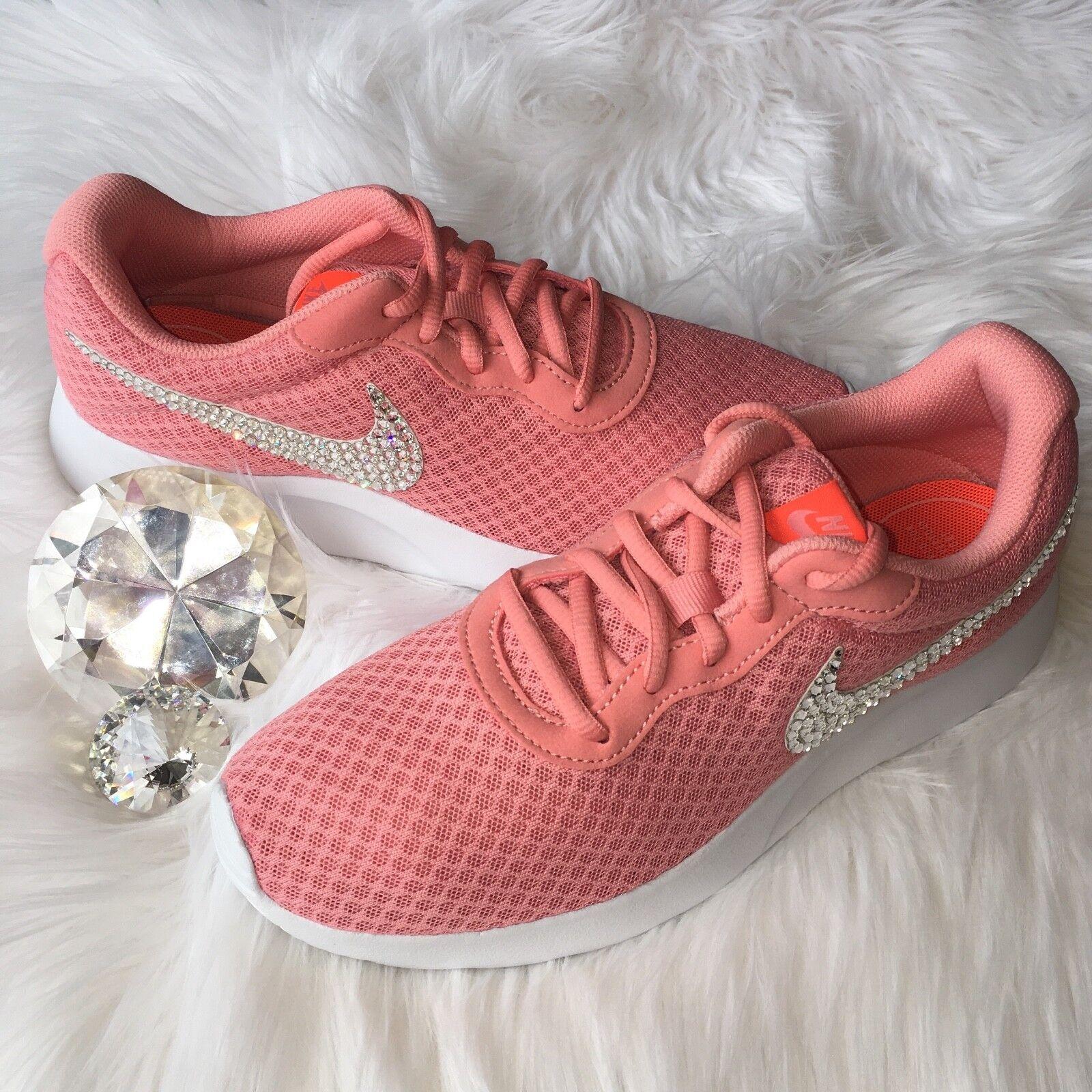 Bling Nike Tanjun shoes with Swarovski Crystal Diamond Rhinestone  Coral  White