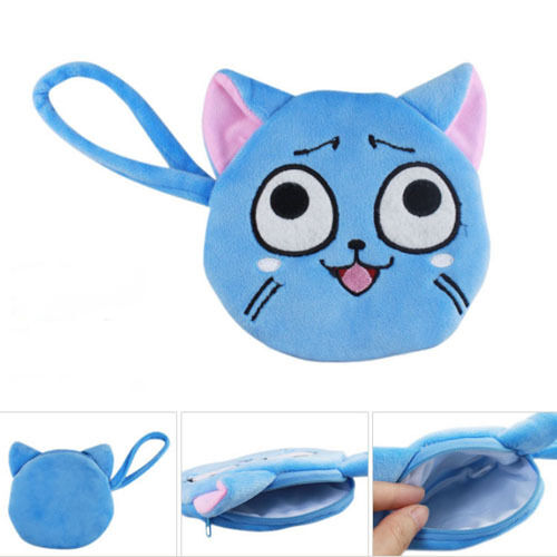 HOT Fairy Tail Cute Happy Soft Plush Purse Coin Wallet Bag Cosplay Prop Gift
