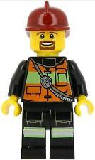 LEGO City Firefighter Minifigure Reflective Stripe Utility Belt orange & green