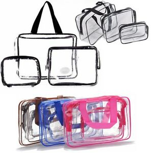 37a449bfe0 3 Piece Cosmetic Makeup Toiletry Clear PVC Travel Wash Bag Holder ...