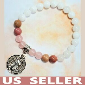 HANDMADE💕 Antique Silver Catholic Saint St Benedict Medal & Gemstones Bracelet