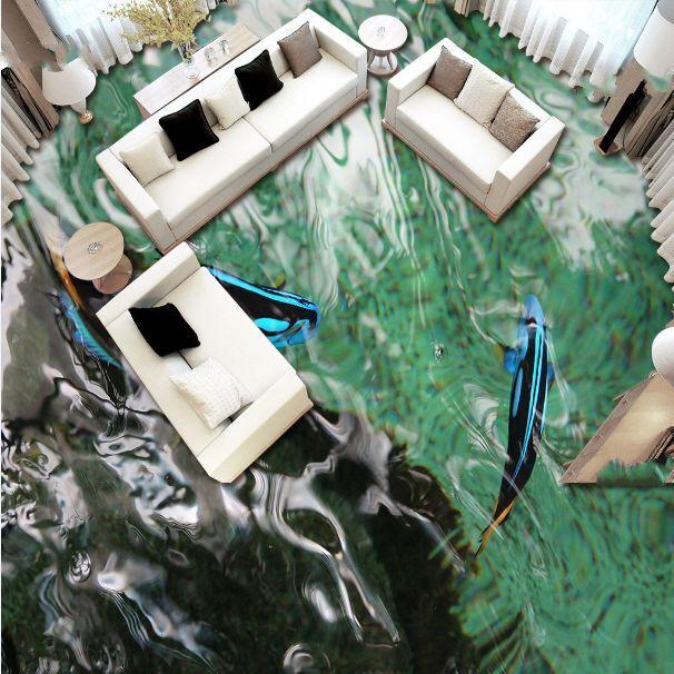3D pesce blue fiume Pavimento Foto Wallpaper Murales Muro Stampa Decalcomania
