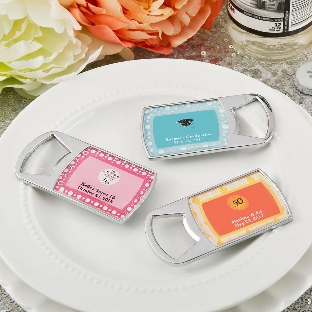 50 Personalized Bottle Opener Baby Shower Birthday Graduation Bridal Party Favor