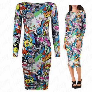 Womens-Ladies-Long-sleeve-Bang-Comic-Cartoon-Print-Bodycon-Midi-Stretch-Dress