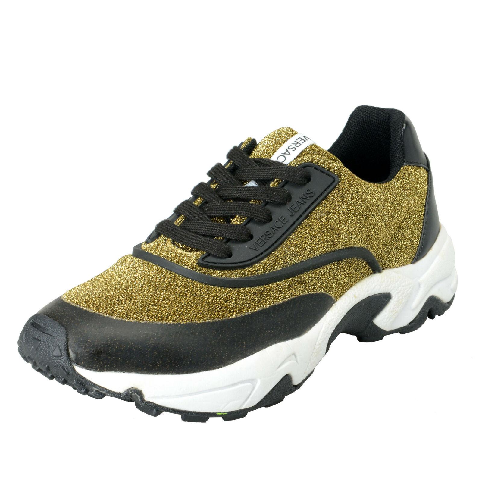 Versace Jeans Women's gold & Black Mesh Fashion Sneakers shoes Sz 7 8 9 10 11