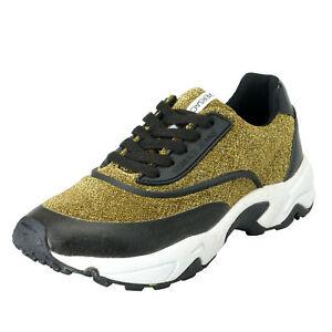 Versace-Jeans-Women-039-s-Gold-amp-Black-Mesh-Fashion-Sneakers-Shoes-Sz-7-8-9-10-11