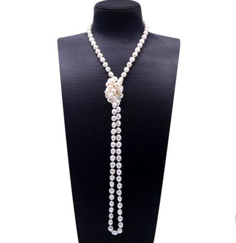 """Charmant blanc 9-10 mm forme ovale d/'eau douce perle collier long 48/"""""""