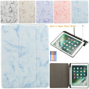 Marble-Leather-Smart-Case-Cover-with-Apple-Pencil-Holder-For-iPad-9-7-034-2017-2018