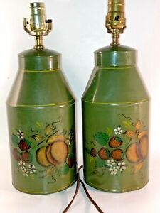 Vintage Pair Set 2 Tole Toleware Tin Hand Painted Lamp Floral Green Background