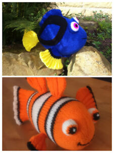 KNITTING PATTERN Finding Nemo Fish inspired booties fit 0-6 month old Baby