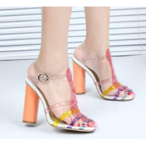 Women Transparent Clear Jelly Mixed Colors Open Toe Slingbacks Sandals Chunky