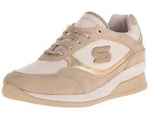 NEW Skechers Leather Textile Wedge Fit Vita Gold Women's Fashion Sneaker Sz 8 M