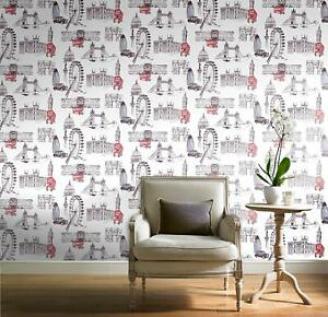 Details About Red Black White London Bus Sketch Quality Designer Feature Wallpaper Pob 26 01 6