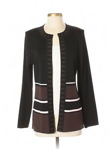 Women-Exclusively-Misook-Black-Brown-Open-Front-Cardigan-Size-S