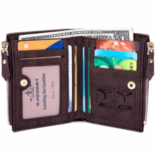 Mens RFID Blocking Wallet Credit Card Holder Luxury Purse Money Coin Clip Zipper