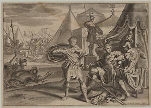 KAMPF-um-TROJA-Original-Bouttats-Kupferstich-um-1670-Ovid-Griechenland-Schlacht