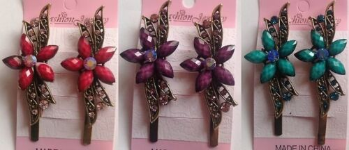 Card of 2 coloured hair grips clips in 6 colour d2
