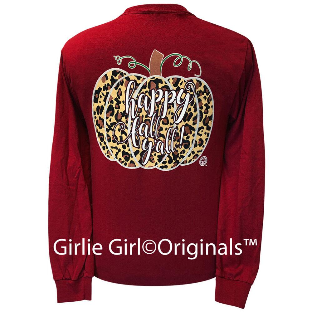 Girlie Girl Originals Tees Leopard Pumpkin Cardinal Long Sleeve T-Shirt - 2125
