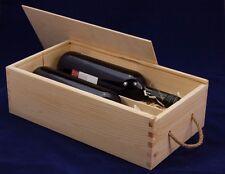 PLAIN vino in legno Box per 2 standard 75 CL BOTTIGLIE DECOUPAGE artigianale manico in corda